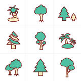 Icons Style Tree Icons Set. Vector Design Stock Images