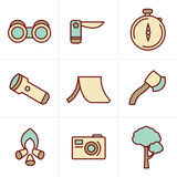 Icons Style vector black camping theme Royalty Free Stock Image