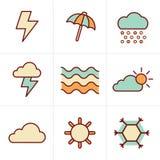 Icons Style  weather  Icons Set Stock Photography