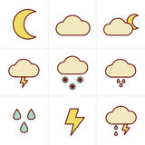 Icons Style Weather icons Royalty Free Stock Photos