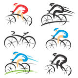 Icons with stylized cyclist Stock Photos