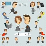 Icons of stylized men and women working in the office are collected in a set stock illustration