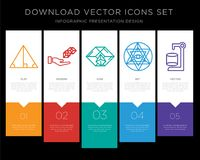 Triangle infographics design icon. 5  icons such as Triangle, 3d cube, Pyramid, Sri yantra, Cylinder for infographic, layout, annual report, pixel perfect icon Stock Photos