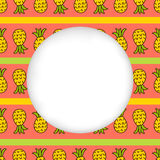 Icons summer only exLiPa SEAM 17-X CUT mesh circles. Greeting card background. Paper cut out, white shape with place for text. Frame with seamless pattern stock illustration