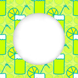 Icons summer only exLiPa SEAM 17-X CUT mesh circles. Greeting card background. Paper cut out, white shape with place for text. Frame with seamless pattern Royalty Free Stock Image