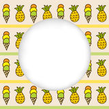 Icons summer only exLiPa SEAM 17-X CUT mesh circles. Greeting card background. Paper cut out, white shape with place for text. Frame with seamless pattern Stock Photography