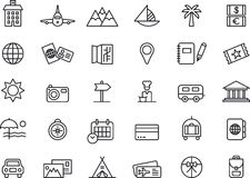 Icons for Summer holiday. Set of 30 icons relating to and illustrating a Summer holiday, white background Stock Photo