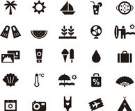 Icons for Summer and holidays. A set of 25 icons illustrating subjects and objects related to Summer and holidays stock photography