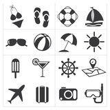 Icons summer set Royalty Free Stock Image