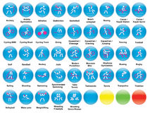 Icons with summer sports. Set of round icons with summer sports Royalty Free Stock Photos