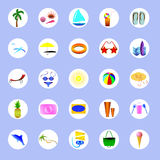 Icons about summer and summer holidays. Figures about the summer vacation, fun and games Royalty Free Stock Image