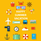 Icons summer vacation in a flat style on yellow background. Illustration Royalty Free Stock Photography
