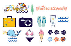 Icons summer vacation. Icons summer travel vacation isolated on white Royalty Free Stock Photos