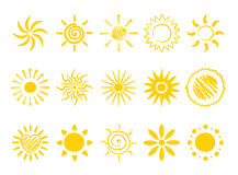 Icons - sun. Vector Icons - a set of cheerful suns stock illustration