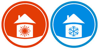 Icons with sun and snowflake on house Royalty Free Stock Images