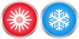 Icons with sun and snowflake Royalty Free Stock Photos