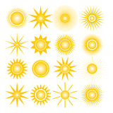 Icons of the sun, vector illustration. Royalty Free Stock Images