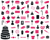 Icons sweets and confectionery products Royalty Free Stock Image