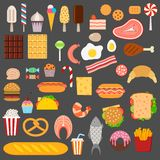 Icons of sweets, fast food, meat and fish. On dark background Royalty Free Stock Photo