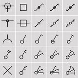 Icons switches, electrical symbols Stock Photos