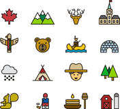 Icons and Symbols of Canada. Set of line art Canadian icons or symbols Stock Image