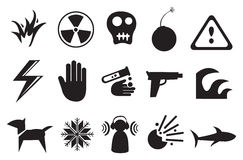 Icons and Symbols for Danger Royalty Free Stock Photo