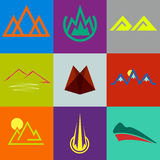 Icons and symbols in form of mountains Stock Image