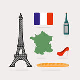 Icons symbols of France. Eiffel Tower and map country. Baguette Stock Image
