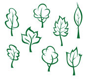 Icons and symbols of green trees Stock Image