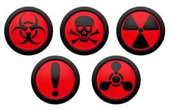 Icons with symbols of hazard. Stock Images