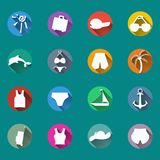 Icons, symbols of summer, travel, vacation. Royalty Free Stock Photos