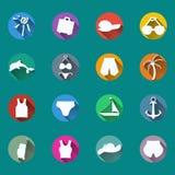 Icons, symbols of summer, travel, vacation. Set of icons. Symbols of summer, travel, vacation. Flat, long shadows Stock Illustration