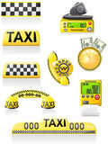 Icons are symbols of taxi. Vector illustration Stock Photos