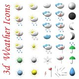 Icons of symbols of weather, 3d. Royalty Free Stock Image