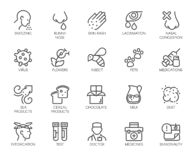 Free Icons Symptoms Allergy, Allergic Reaction, Allergens. Line Signs Lacrimation Pollen Sick Man. Vector Icons Set Outline. Stock Images - 180704944