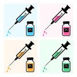 Icons syringes for injection with colorful vaccine, vials of medicine. Vector vector illustration