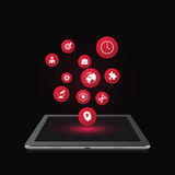 Icons in a tablet. Vector illustration Royalty Free Stock Photos