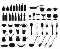 Icons of tableware and cutlery Stock Photos