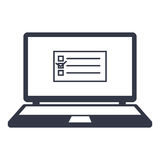 Icons task list, task list on the laptop monitor Stock Photography