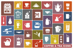 Icons of tea and coffee Royalty Free Stock Photos