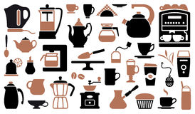 Icons of tea and coffee Stock Images