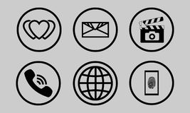 Icons tech. Set of universal contour icons. Vector Icons Stock Photo