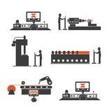 Icons of technological processes of production Stock Image