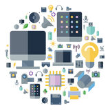 Icons for technology and devices arranged in circle Stock Images