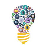 Icons for technology and science arranged in light bulb shape Stock Photos