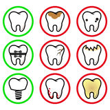 Icons teeth. Vector tooth pathology in circles on a white background Royalty Free Stock Image