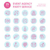 25-ICONS-template Event agency. Event agency, wedding organization vector line icon. Party service - catering, birthday cake, balloon decoration, flower delivery Royalty Free Stock Images
