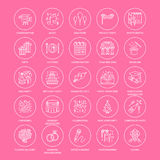 25-ICONS-template Event agency. Event agency, wedding organization vector line icon. Party service - catering, birthday cake, balloon decoration, flower delivery Stock Image