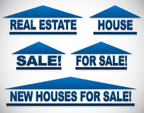Icons with text for real estate concepts - For sale signs house Stock Images