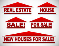 Icons with text for real estate concepts - For sale signs house Stock Image